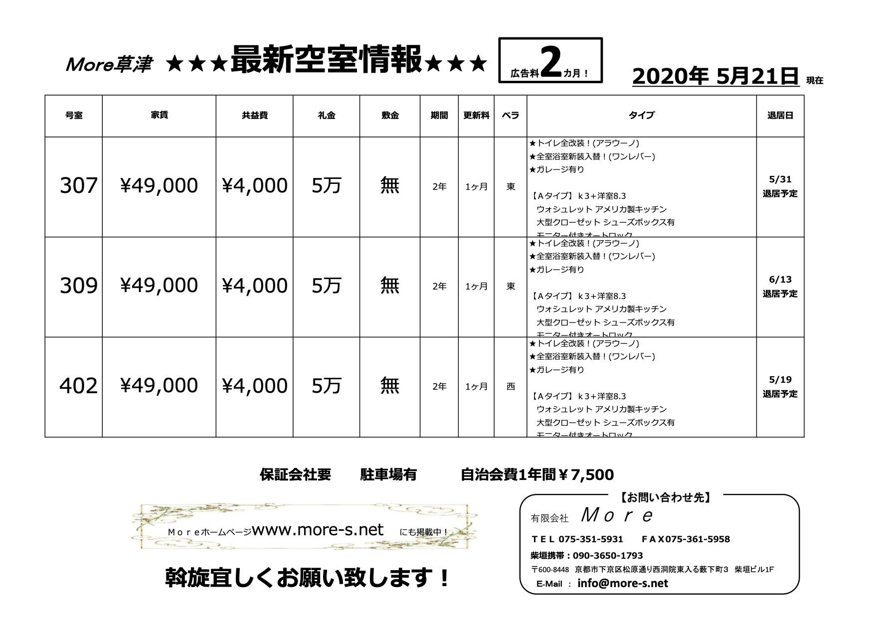 【20200521草津】最新空室情報